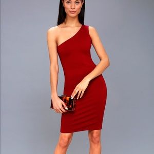 Red One-Shoulder Midi Dress